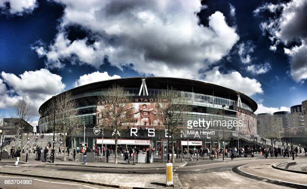 A general view outside the ground prior to the Premier League match between Arsenal and Manchester City at Emirates Stadium on April 2 2017 in London...