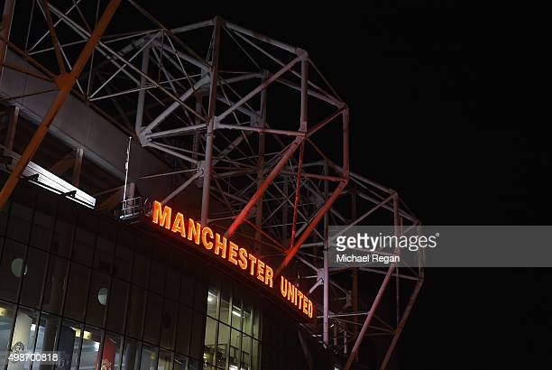 A general view outside the ground prior to the UEFA Champions League Group B match between Manchester United FC and PSV Eindhoven at Old Trafford on...