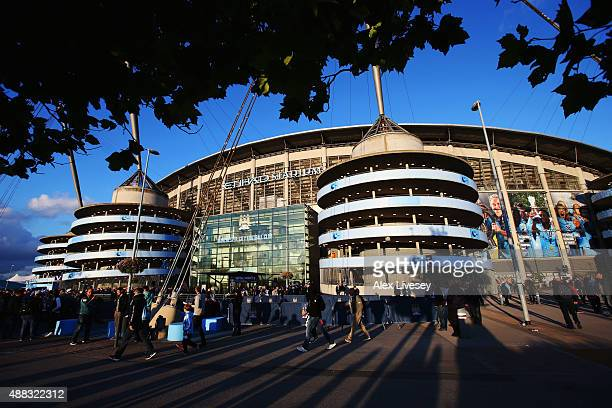 A general view outside the ground prior to the UEFA Champions League Group D match between Manchester City FC and Juventus at the Etihad Stadium on...