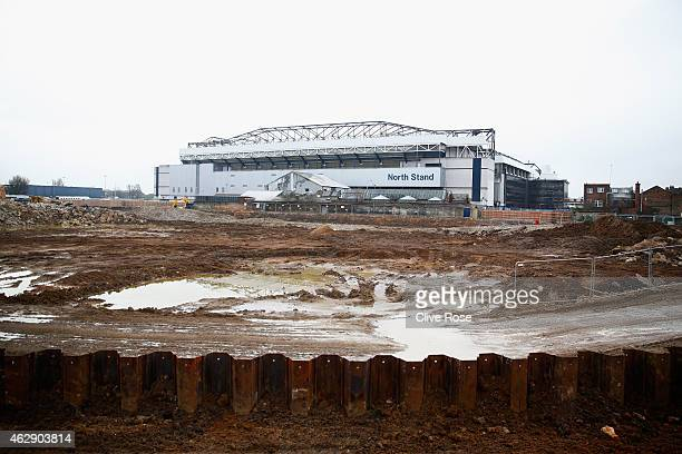 A general view outside the ground showing the building site for the proposed new stadium prior to the Barclays Premier League match between Tottenham...