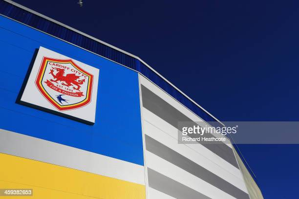 A general view outside the ground showing the Cardiff City crest prior to the Barclays Premier League match between Cardiff City and Southampton at...