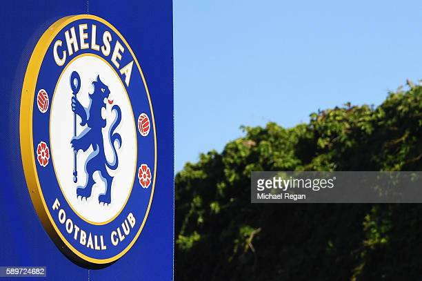 A general view outside the ground showing the Chelsea badge prior to the Premier League match between Chelsea and West Ham United at Stamford Bridge...