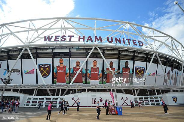 A general view outside the London Stadium ahead of the English Premier League football match between West Ham United and Bournemouth in east London...