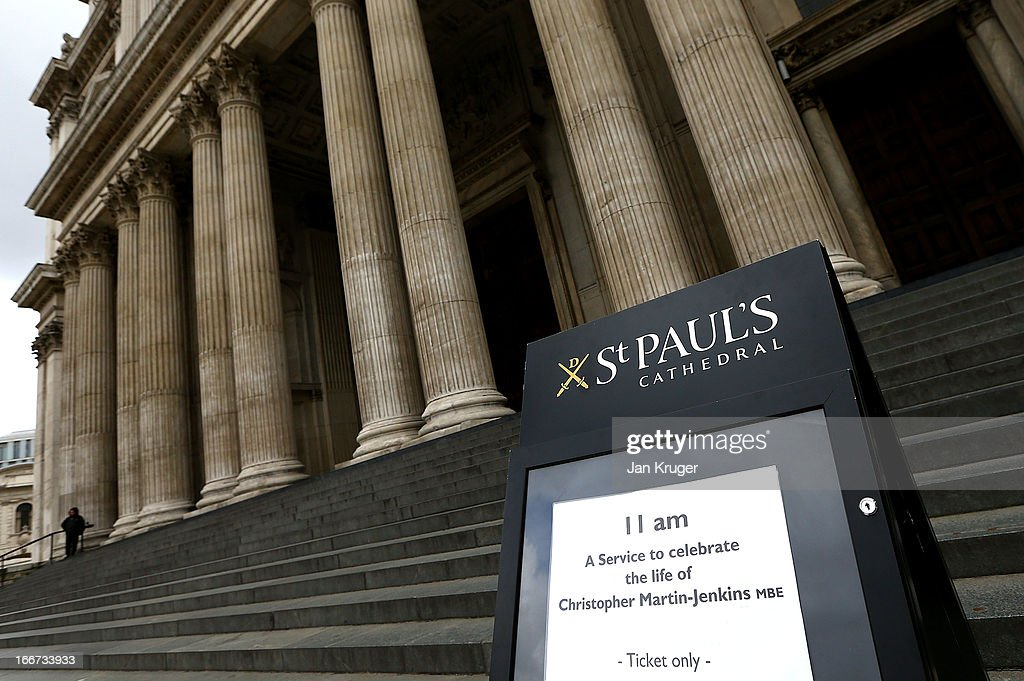 A general view outside the memorial service to journalist and former president of the MCC, Christopher Martin-Jenkins MBE at St Paul's Cathedral on April 16, 2013 in London, England.
