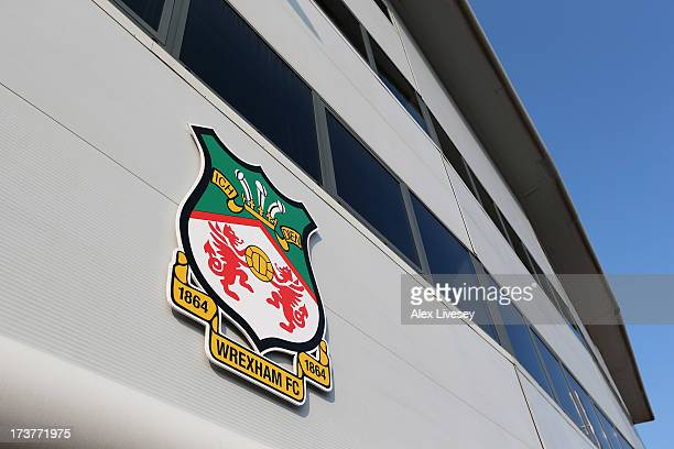 A general view outside the Racecourse Ground is seen prior the Pre Season Friendly match between Wrexham AFC and Wolverhampton Wanderers at...