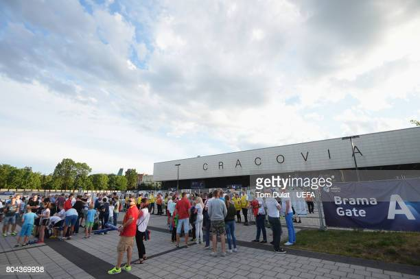 General view outside the sadium prior to the UEFA European Under21 Championship Final between Germany and Spain at Krakow Stadium on June 30 2017 in...