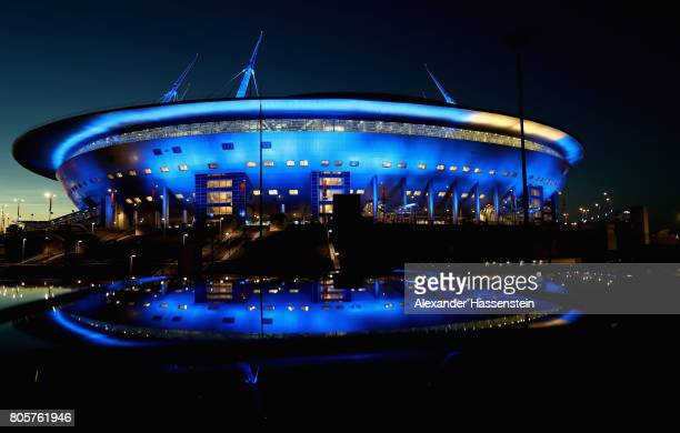 General view outside the stadium after the FIFA Confederations Cup Russia 2017 Final between Chile and Germany at Saint Petersburg Stadium on July 2...