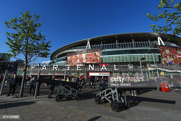 A general view outside the stadium ahead of the Barclays Premier League match between Arsenal and Sunderland at Emirates Stadium on May 20 2015 in...