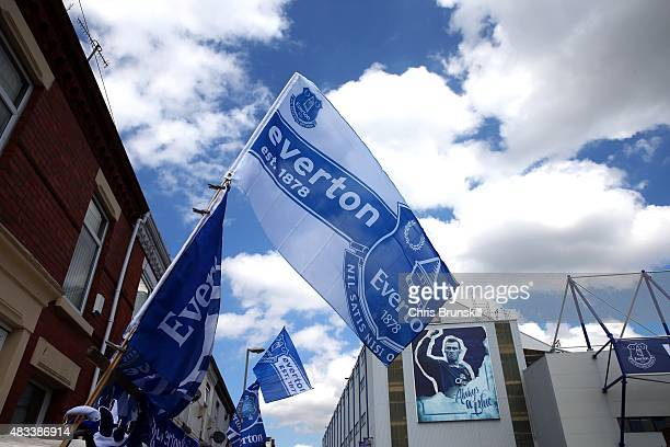 A general view outside the stadium ahead of the Barclays Premier League match between Everton and Watford at Goodison Park on August 8 2015 in...