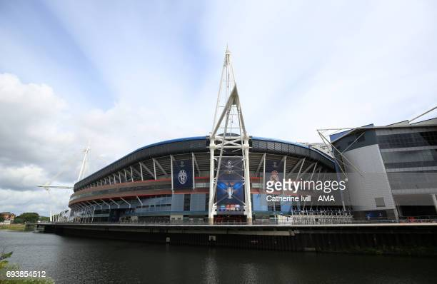 General view outside the stadium ahead of the UEFA Champions League Final match between Juventus and Real Madrid at National Stadium of Wales on June...