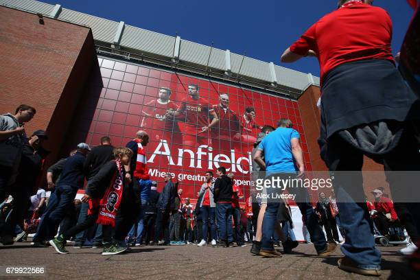 General view outside the stadium as fans arrive prior to the Premier League match between Liverpool and Southampton at Anfield on May 7 2017 in...