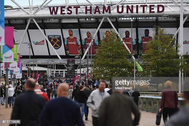 General view outside the stadium before kick off during the Premier League match between West Ham United and Middlesbrough at London Stadium on...