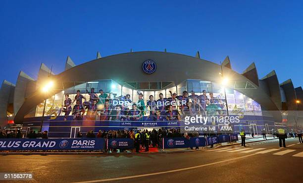 General view outside the stadium before the UEFA Champions League match between Paris SaintGermain and Chelsea at Parc des Princes on February 16...