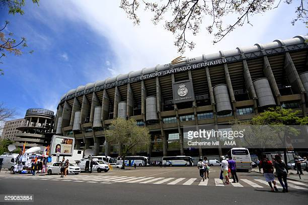 General view outside the stadium before the UEFA Champions League Semi Final second leg match between Real Madrid and Manchester City FC at Estadio...