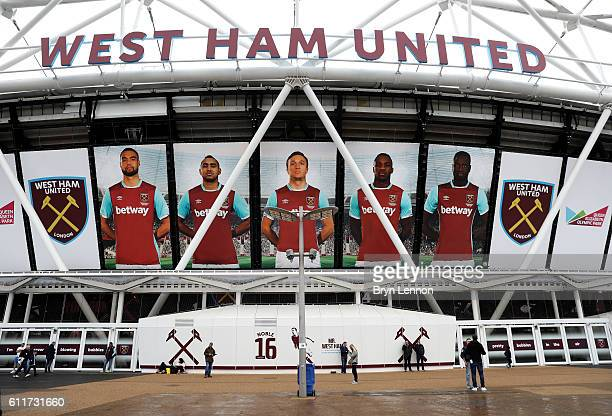 General view outside the stadium during the Premier League match between West Ham United and Middlesbrough at London Stadium on October 1 2016 in...
