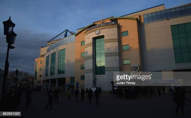 A general view outside the stadium prior to during The Emirates FA Cup QuarterFinal match between Chelsea and Manchester United at Stamford Bridge on...