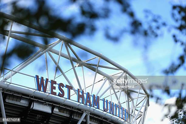 General view outside the stadium prior to kick off during the Premier League match between West Ham United and Sunderland at Olympic Stadium on...