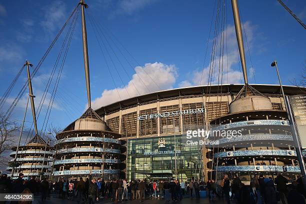 A general view outside the stadium prior to the Barclays Premier League match between Manchester City and Newcastle United at Etihad Stadium on...
