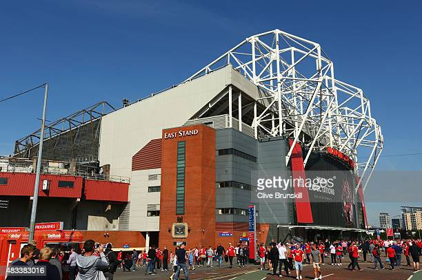 A general view outside the stadium prior to the Barclays Premier League match between Manchester United and Tottenham Hotspur at Old Trafford on...