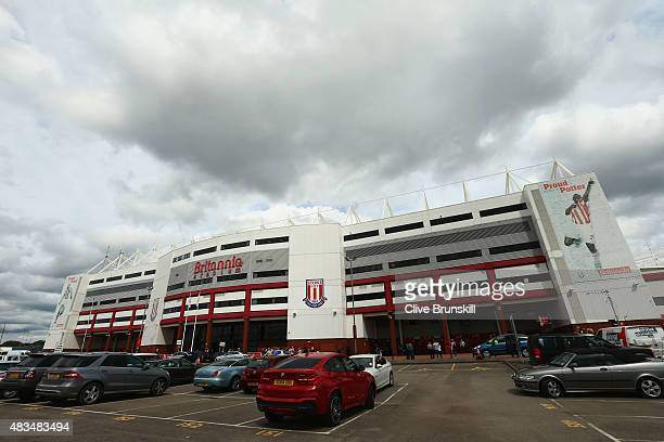 A general view outside the stadium prior to the Barclays Premier League match between Stoke City and Liverpool at Brittania Stadium on August 9 2015...
