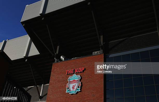 A general view outside the stadium prior to the Barclays Premier League match between Liverpool and AFC Bournemouth at Anfield on August 17 2015 in...