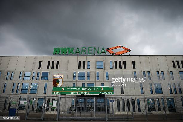 A general view outside the stadium prior to the Bundesliga match between FC Augsburg and Hannover 96 at WWK Arena on September 20 2015 in Augsburg...