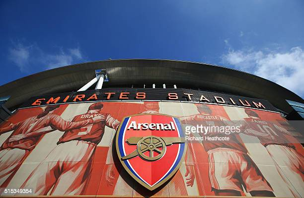 A general view outside the stadium prior to the Emirates FA Cup sixth round match between Arsenal and Watford at Emirates Stadium on March 13 2016 in...