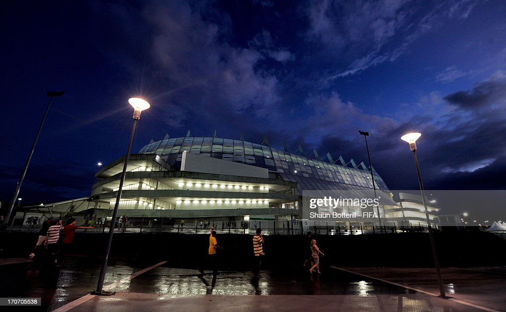General view outside the stadium prior to the FIFA Confederations Cup Brazil 2013 Group B match between Spain and Uruguay at the Arena Pernambuco on June 16, 2013 in Recife, Brazil.