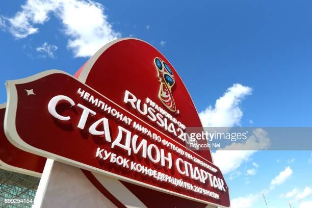 General view outside the stadium prior to the FIFA Confederations Cup Russia 2017 Group A match between Russia and Portugal at Spartak Stadium on...