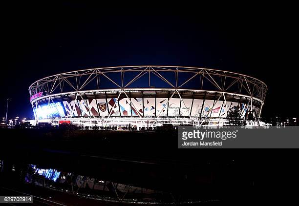 General view outside the stadium prior to the Premier League match between West Ham United and Burnley at London Stadium on December 14 2016 in...