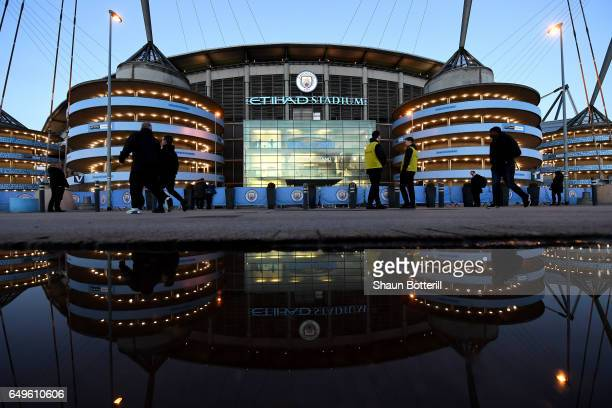 A general view outside the stadium prior to the Premier League match between Manchester City and Stoke City at Etihad Stadium on March 8 2017 in...