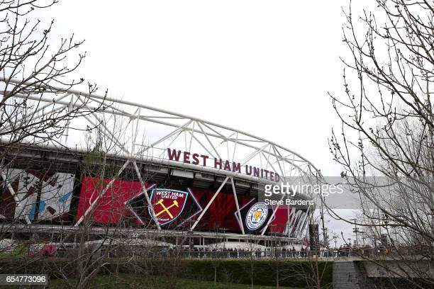 General view outside the stadium prior to the Premier League match between West Ham United and Leicester City at London Stadium on March 18 2017 in...