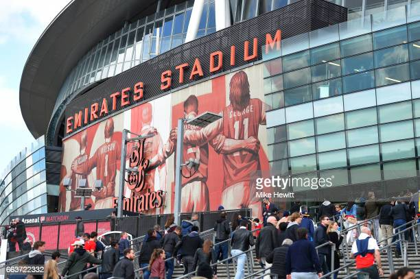 General view outside the stadium prior to the Premier League match between Arsenal and Manchester City at Emirates Stadium on April 2 2017 in London...