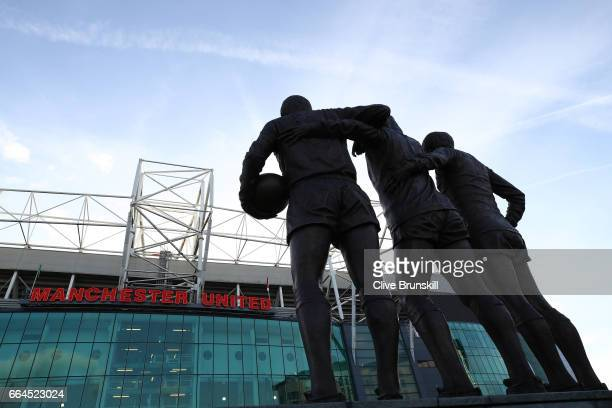 General view outside the stadium prior to the Premier League match between Manchester United and Everton at Old Trafford on April 4 2017 in...