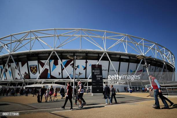 General view outside the stadium prior to the Premier League match between West Ham United and Swansea City at London Stadium on April 8 2017 in...