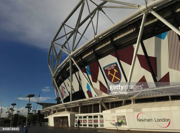 A general view outside the stadium prior to the Premier League match between West Ham United and Huddersfield Town at London Stadium on September 11...