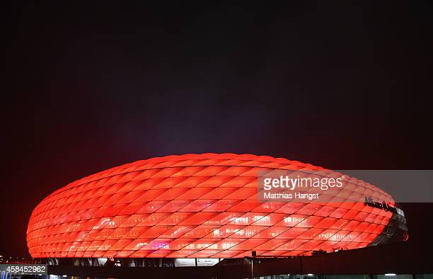 A general view outside the stadium prior to the UEFA Champions League Group E match between FC Bayern Munchen and AS Roma at Allianz Arena on...