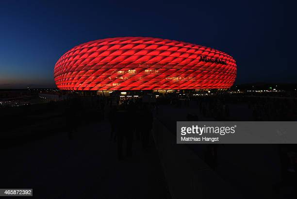 A general view outside the stadium prior to the UEFA Champions League Round of 16 second leg match between FC Bayern Muenchen and FC Shakhtar Donetsk...