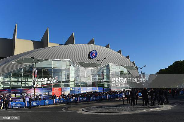 A general view outside the stadium prior to the UEFA Champions League Quarter Final First Leg match between Paris SaintGermain and FC Barcelona at...