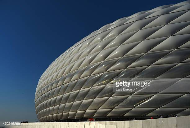 A general view outside the stadium prior to the UEFA Champions League Quarter Final Second Leg match between FC Bayern Muenchen and FC Porto at...
