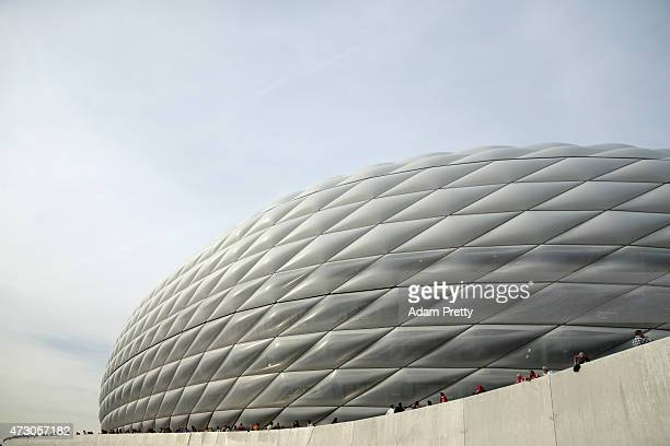 A general view outside the stadium prior to the UEFA Champions League semi final second leg match between FC Bayern Muenchen and FC Barcelona at...