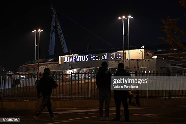 A general view outside the stadium prior to the UEFA Champions League Group H match between Juventus and Olympique Lyonnais at Juventus Stadium on...