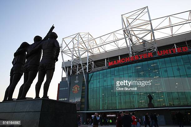 A general view outside the stadium prior to the UEFA Europa League round of 16 second leg match between Manchester United and Liverpool at Old...