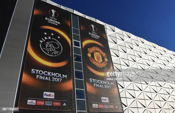General view outside the stadium prior to the UEFA Europa League Final between Ajax and Manchester United at Friends Arena on May 24 2017 in...