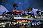 A general view outside the Staples Center before a game between the Oklahoma City Thunder and Los Angeles Clippers at STAPLES Center on October 30...