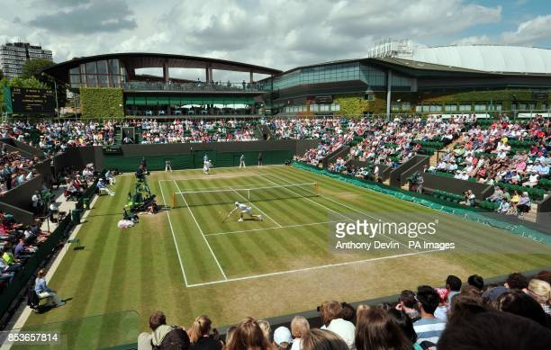 A general view over court 3 as France's JoWilfried Tsonga plays Chinese Taipei's Jimmy Wang during day five of the Wimbledon Championships at the All...