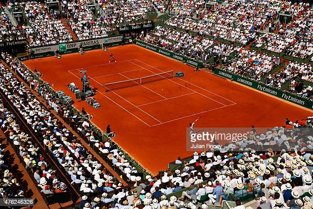 A general view over Court Philippe Chatrier during the Men's Singles Final betwen Novak Djokovic of Serbia and Stanislas Wawrinka of Switzerland on...