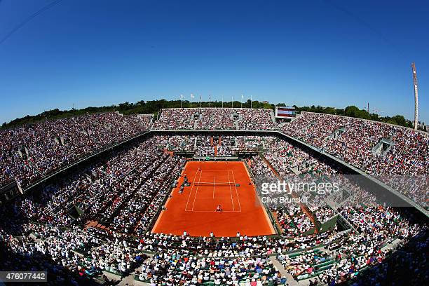 A general view over Court Philippe Chatrier during the Women's Singles Final between Serena Williams of the United States and Lucie Safarova of Czech...