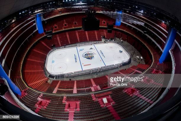 General view over Ericsson Globe during the rink build out ahead of the SAP NHL Global Series between Ottawa Senators and Colorado Avalanche at...