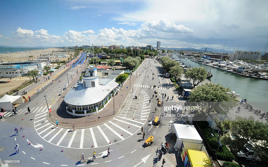 A general view over Rimini as the participants run during the Challenge Family Triathlon Rimini on May 26, 2013 in Rimini, Italy.